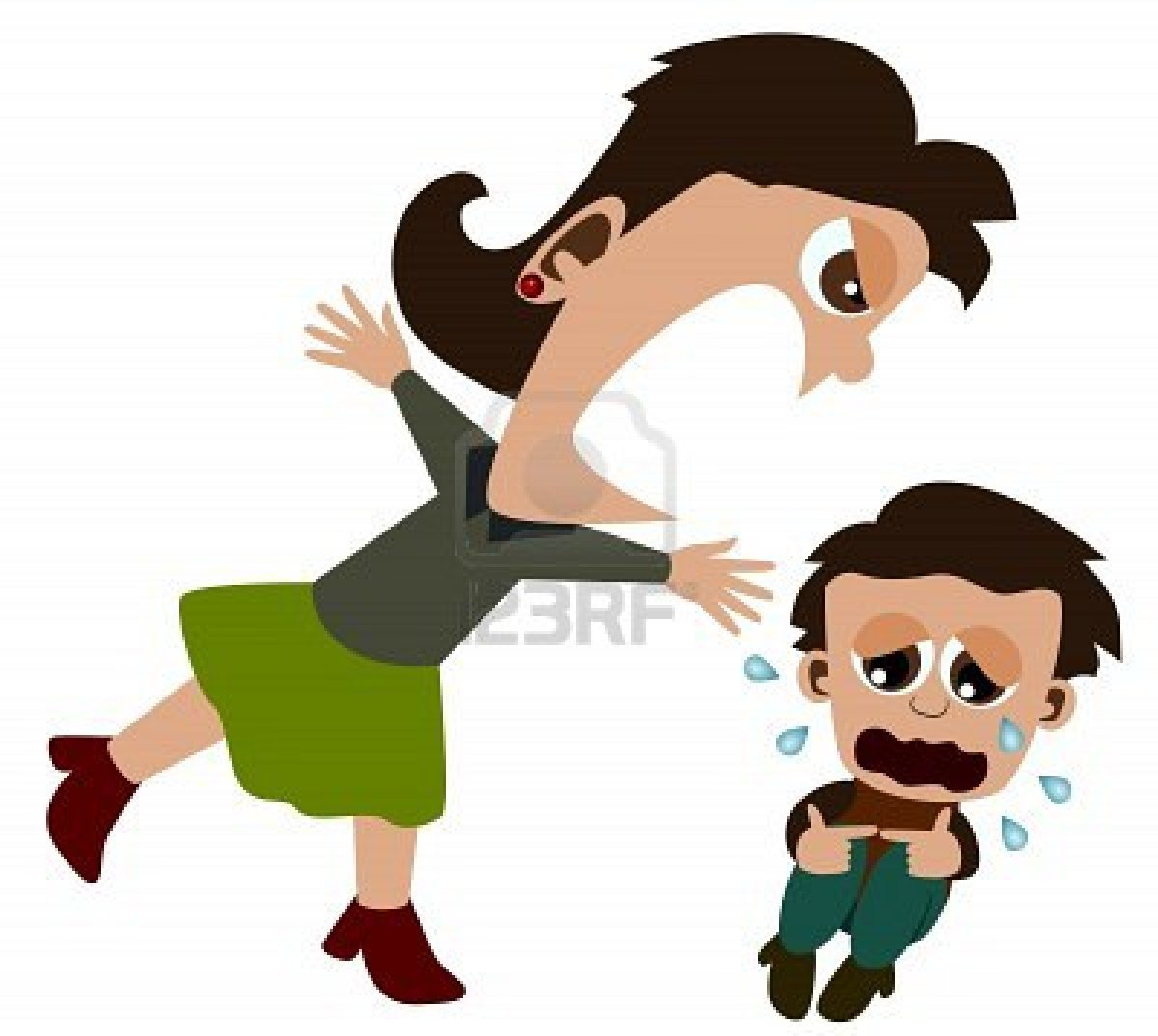 A Mother Scolding Child Cartoon Clip Art free image.