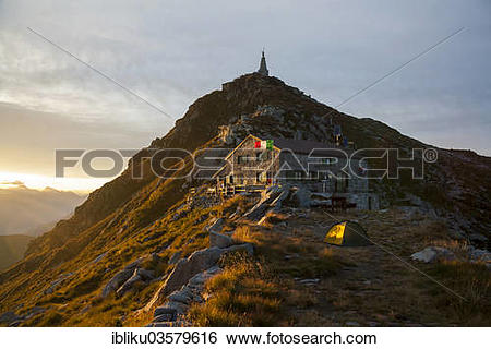 """Stock Images of """"Rifugio Mombarone, with the summit of Mt."""