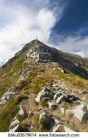 "Stock Photo of ""Rifugio Mombarone, with the summit of Mt Mombarone."