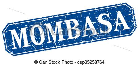 Clip Art Vector of Mombasa blue square grunge retro style sign.