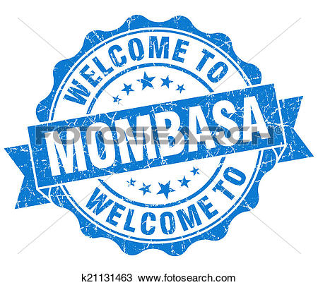 Drawing of welcome to Mombasa blue vintage isolated seal k21131463.