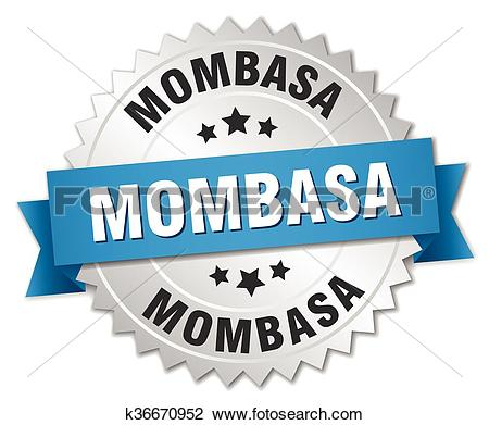 Clipart of Mombasa round silver badge with blue ribbon k36670952.