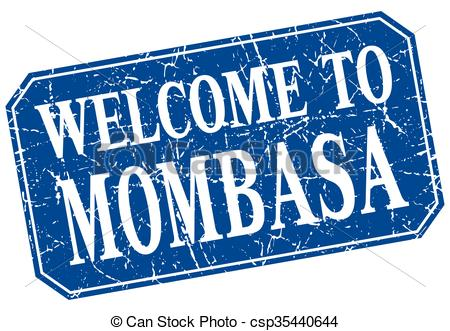 EPS Vector of welcome to Mombasa blue square grunge stamp.