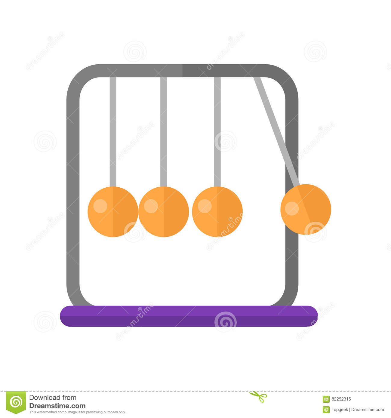 Newton`s Cradle Vector Illustration In Flat Design Stock Vector.