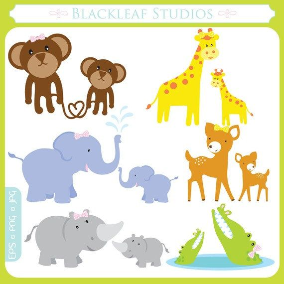 Mother and Baby Jungle Animals Clipart Set by.
