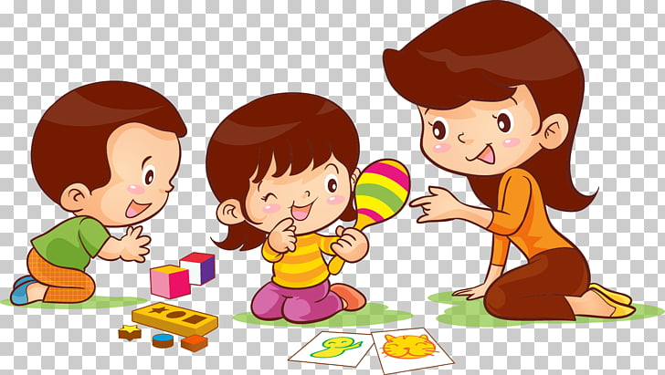 Child , kindergarten, boy and girl playing with mommy PNG.
