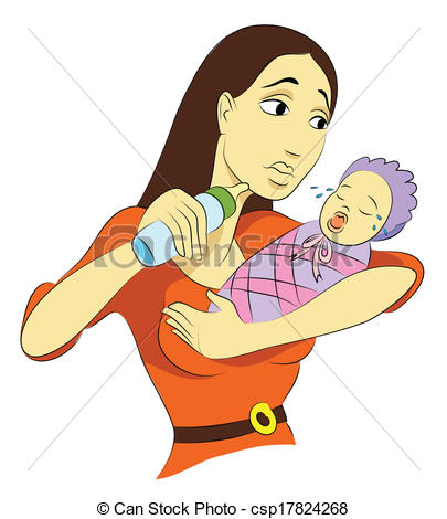 Clip Art Vector of Troubled Mommy csp17824268.