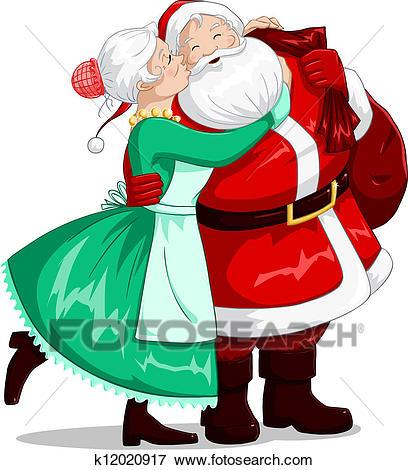 Mrs Claus Kisses Santa On Cheek And Hugs Clip Art.