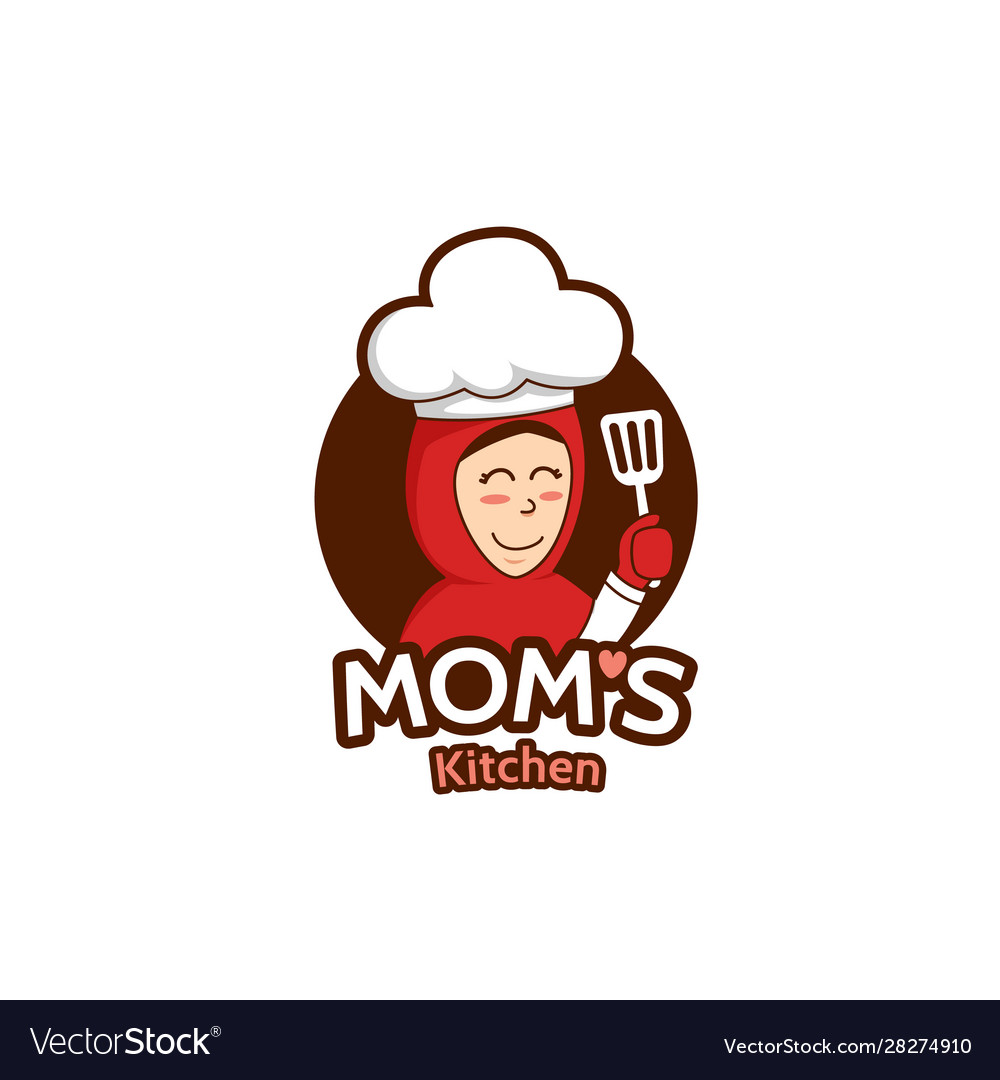 Mommy mom kitchen logo with female muslim mother.