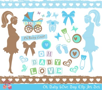 Oh Baby Boy Mom Mommy to be Clipart Set.