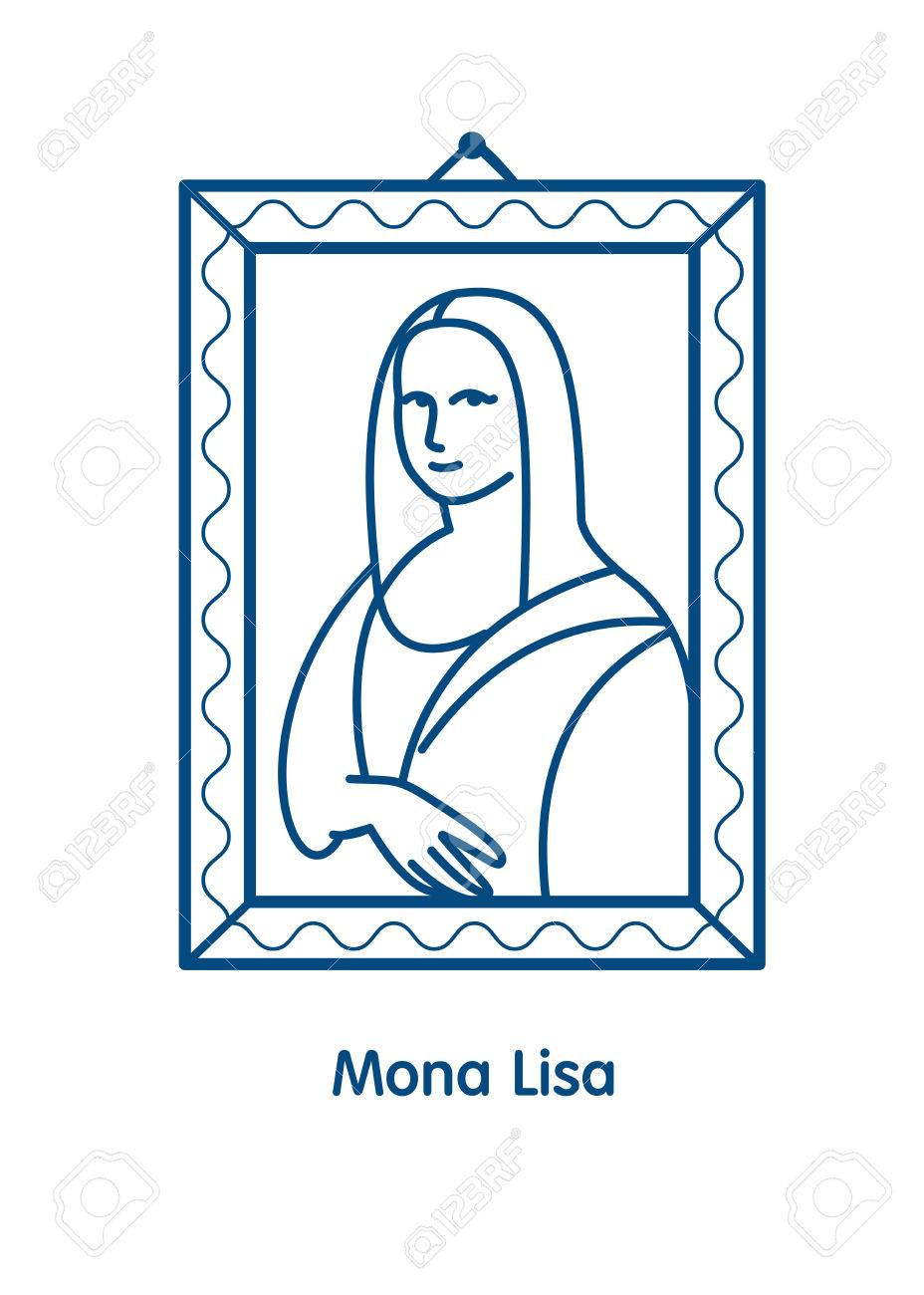Painting The Mona Lisa.The linear vector emblem icon. The famous...