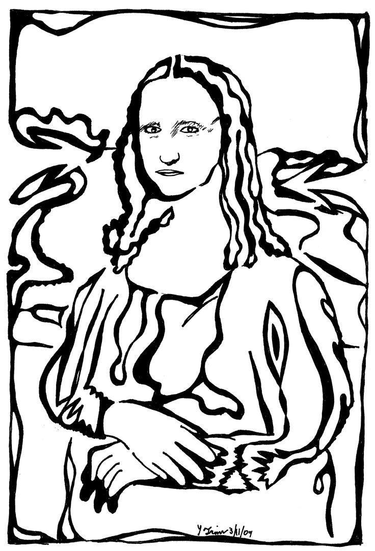 Mona Lisa Black And White Print.