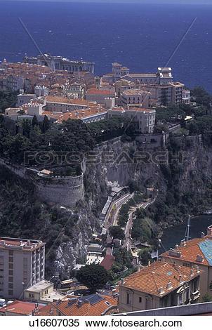 Stock Image of Monaco, Aerial view of the city of Monaco.