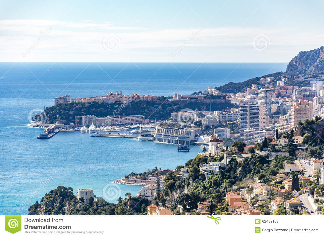View Of Monte Carlo And Monaco Ville Stock Photo.