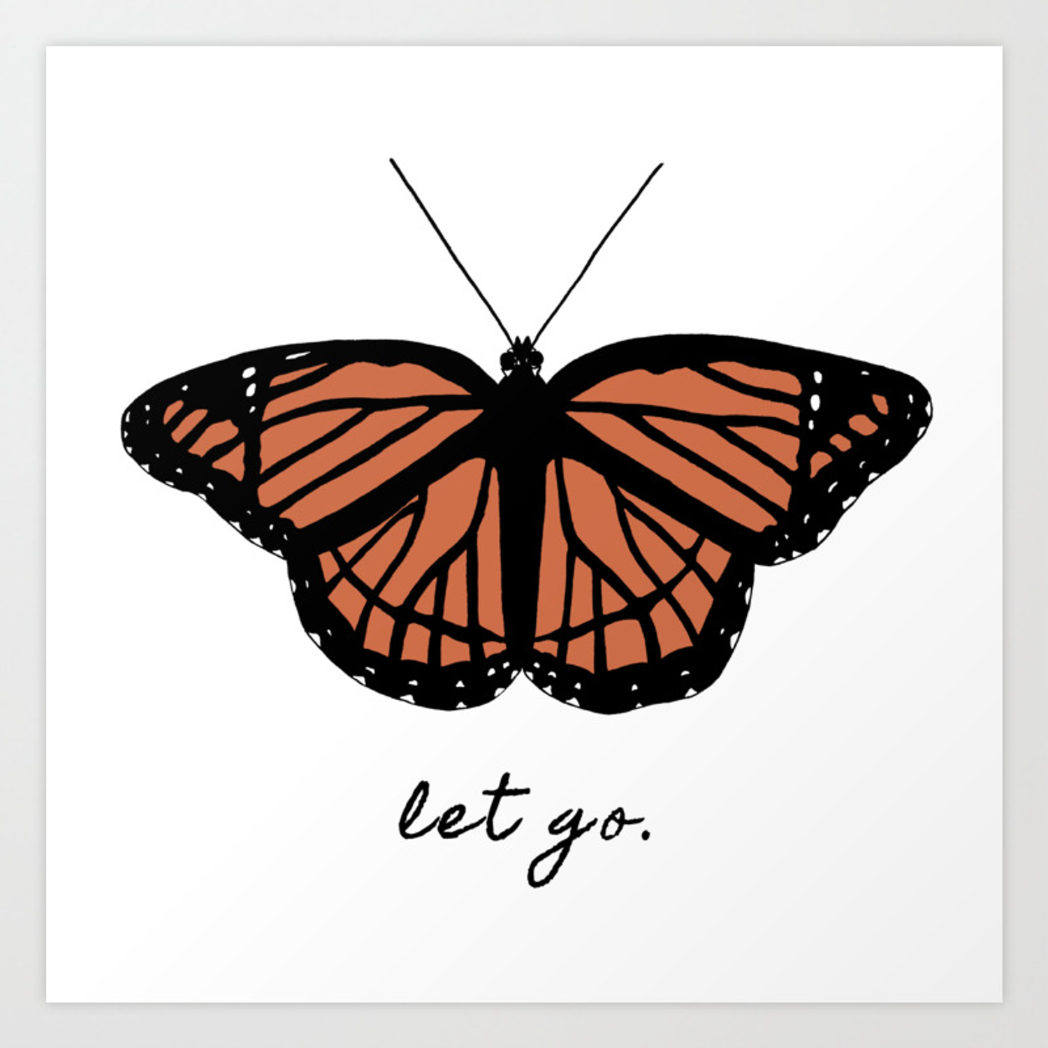 Orange Monarch Butterfly Symbol Change Transition Growth Let Go Logo Quote  Art Print.