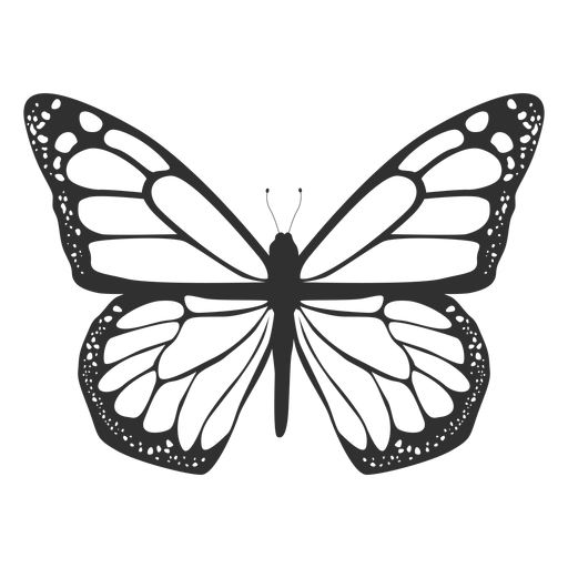 Monarch butterfly silhouette icon.