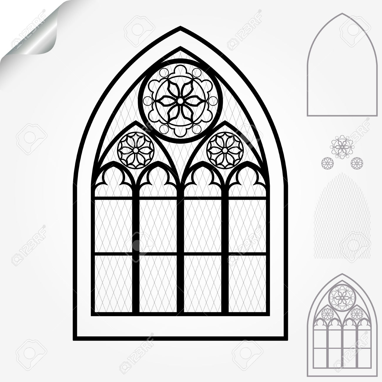Gothic Window Of Cathedrals, Churches, Monasteries And Medieval.