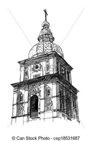 Vector of digital drawing of ukrainian church, engraving style.