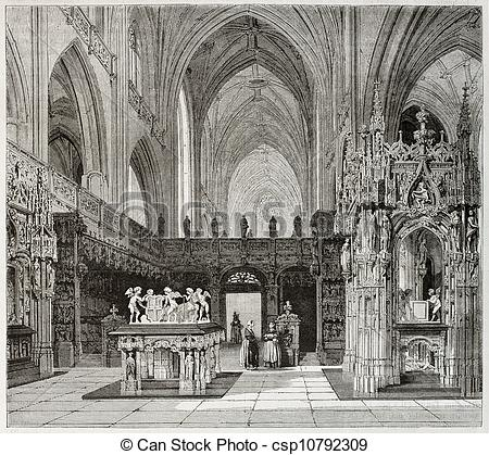 Stock Illustration of Brou monastery church.