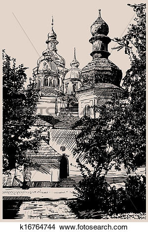 Clipart of digital drawing of ukrainian church, engraving style.