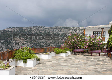 Stock Photo of St Archangel Michael Monastery garden, Thassos.