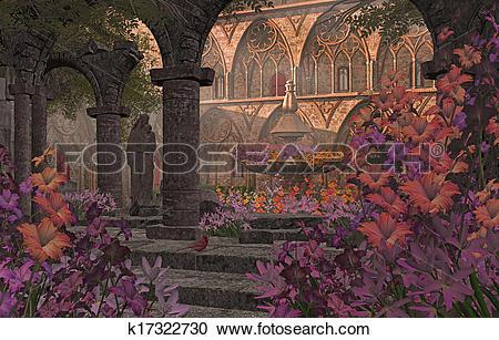 Stock Illustrations of Old Monastery Garden Courtyard k17322730.