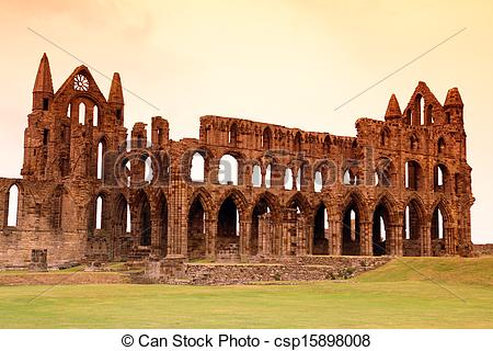Stock Photography of Whitby Abbey castle, ruined Benedictine abbey.