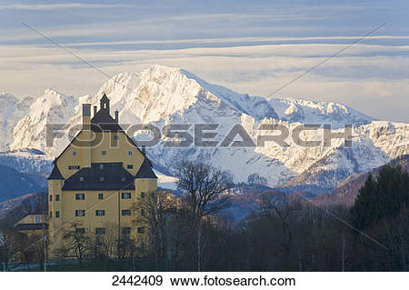 Stock Photograph of Palace surrounded by trees, Schloss.