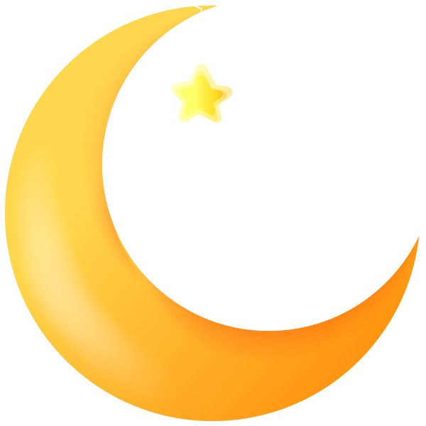 Cartoon Crescent Moon with a Funny Faces.