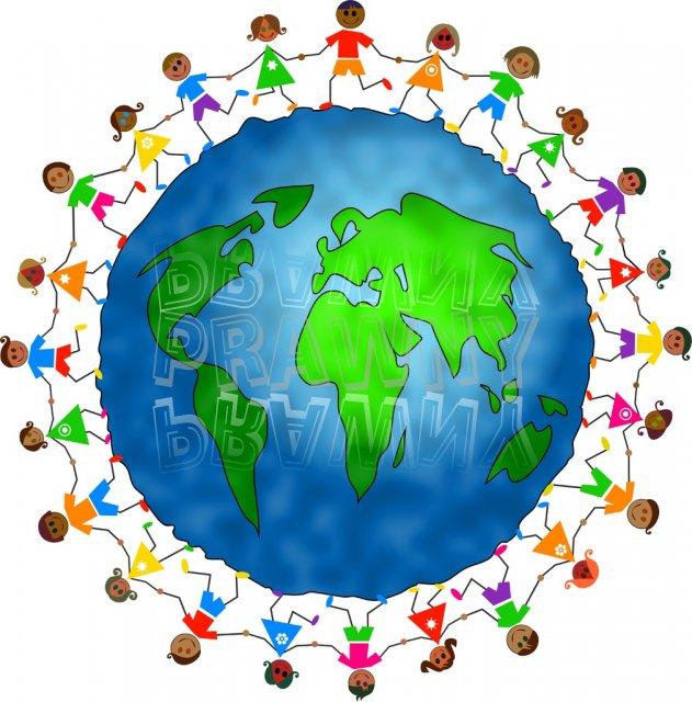World Globe Happy Children Clipart Illustration.