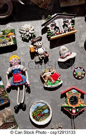 Stock Photos of kitschy souvenirs in mondsee, upper austria.
