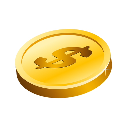 Gold Dollar Coin Vector.