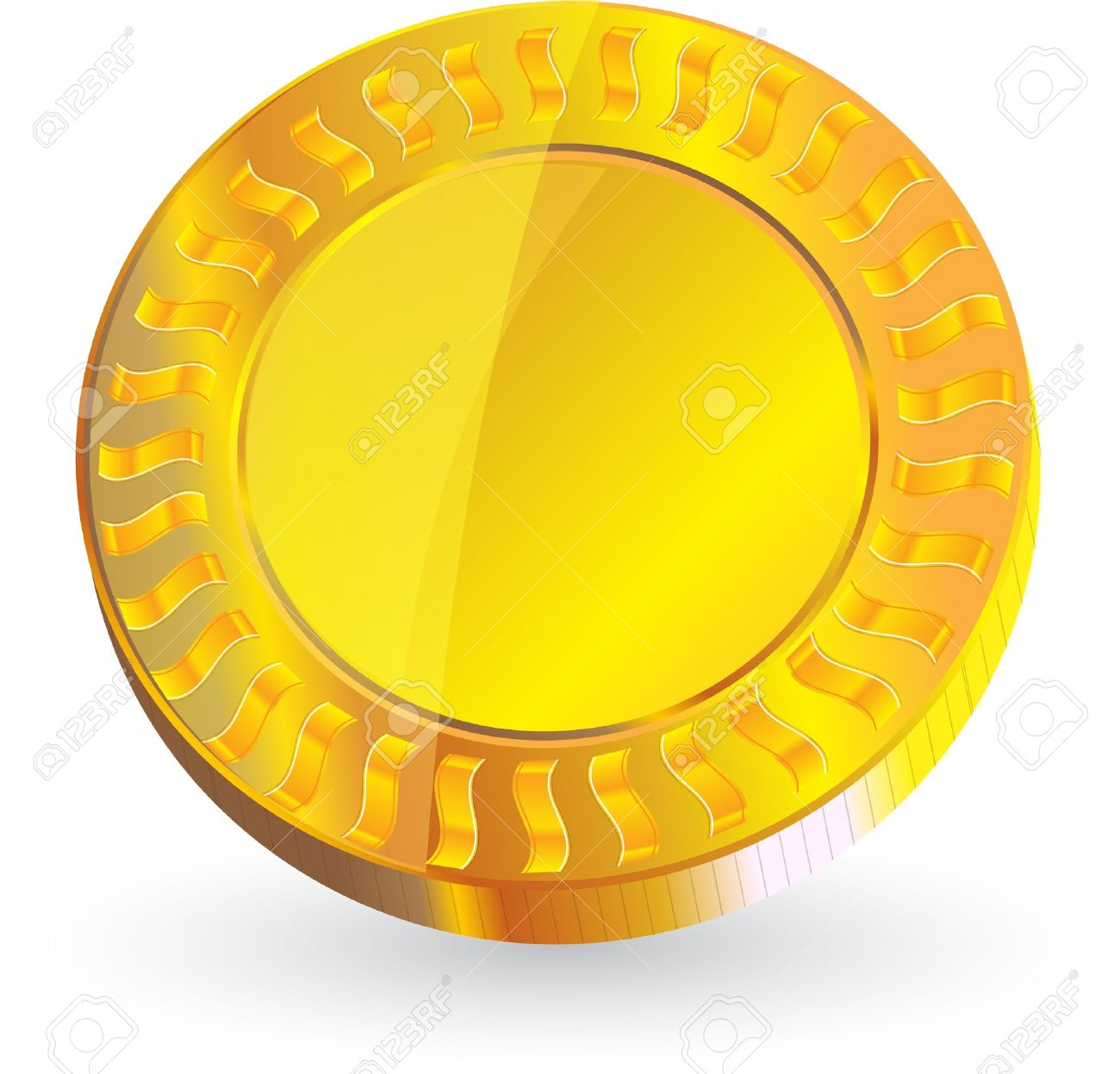 Gold Coin Isolated On White Background Vector Format Royalty Free.
