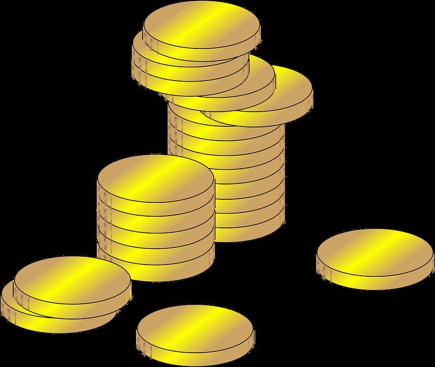 Grafică vectorială gratuită: Monede, Bani, Profit, Bogăţie.