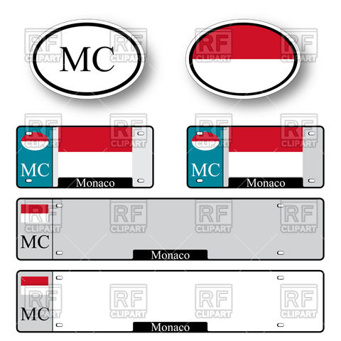Template of car plate number with flag of Monaco and oval car.