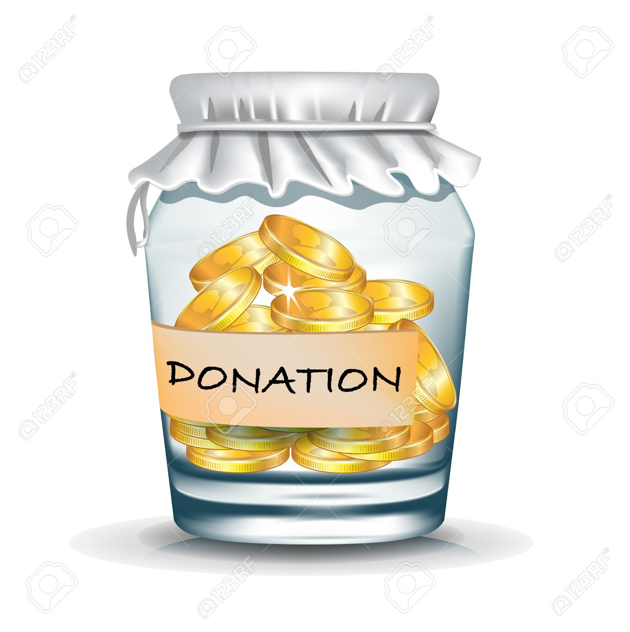 Jar With Coins Isolated; Donation Concept Royalty Free Cliparts.
