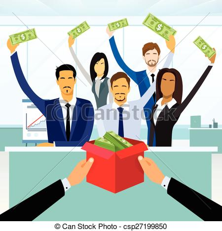 Clipart Vector of Business People Group Crowd Funding Put Money.