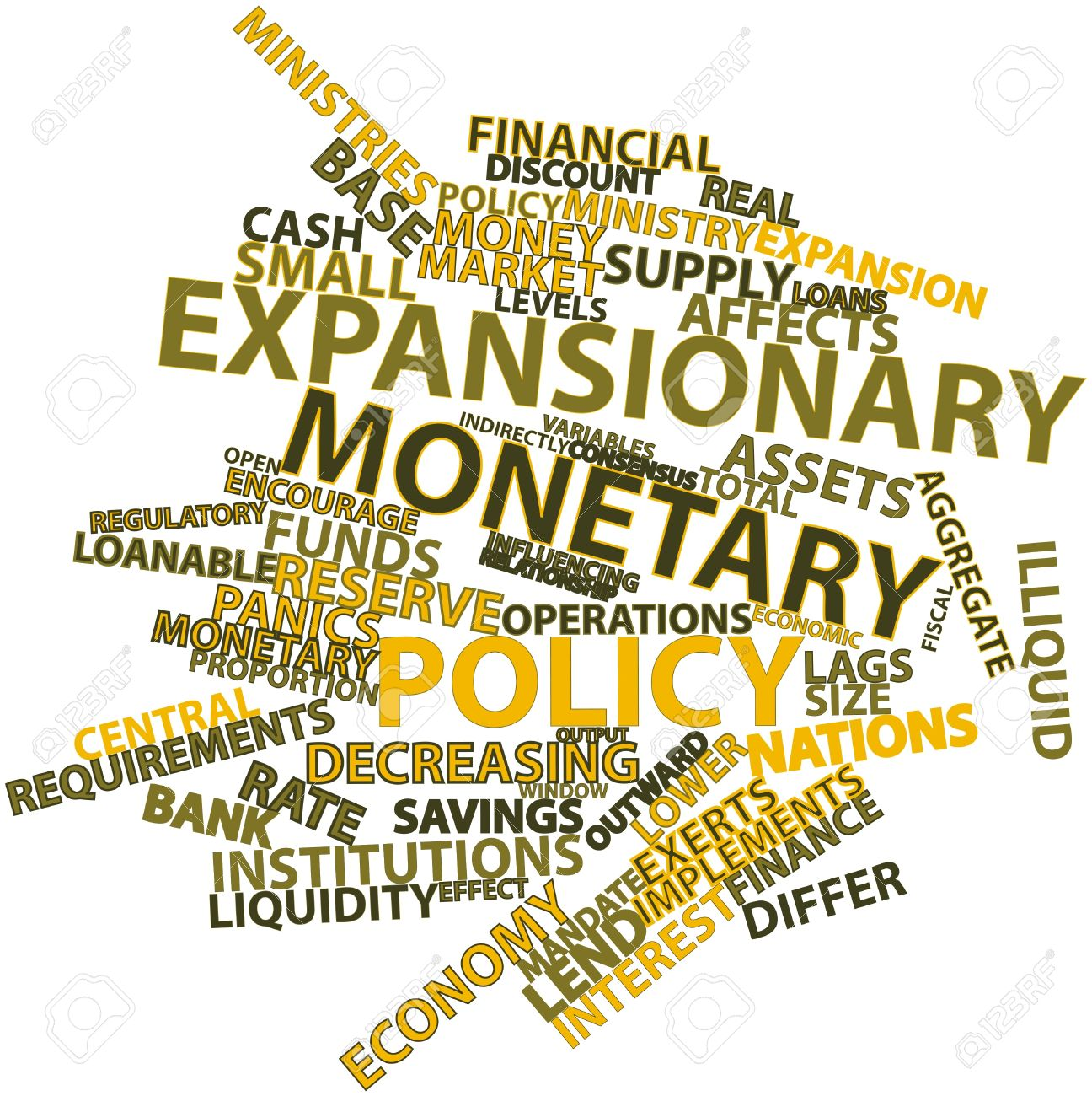 Abstract Word Cloud For Expansionary Monetary Policy With Related.