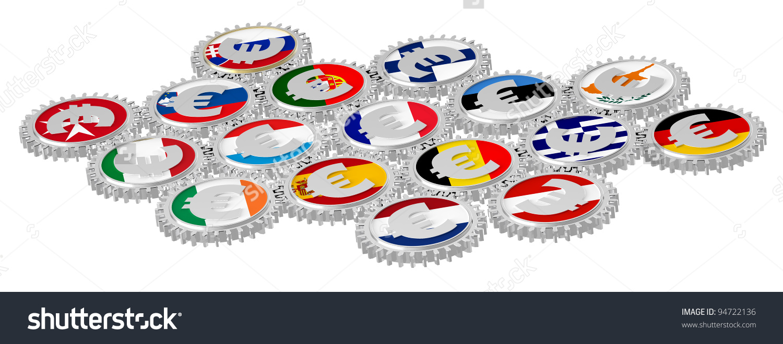 Concept European Monetary System Euro Gears Stock Illustration.