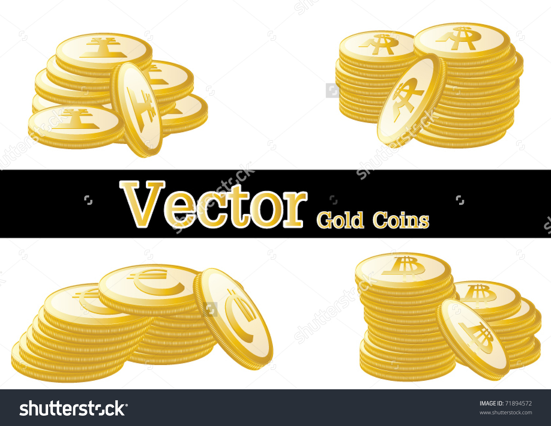 Gold Coin Four Monetary Unit Vector Stock Vector 71894572.