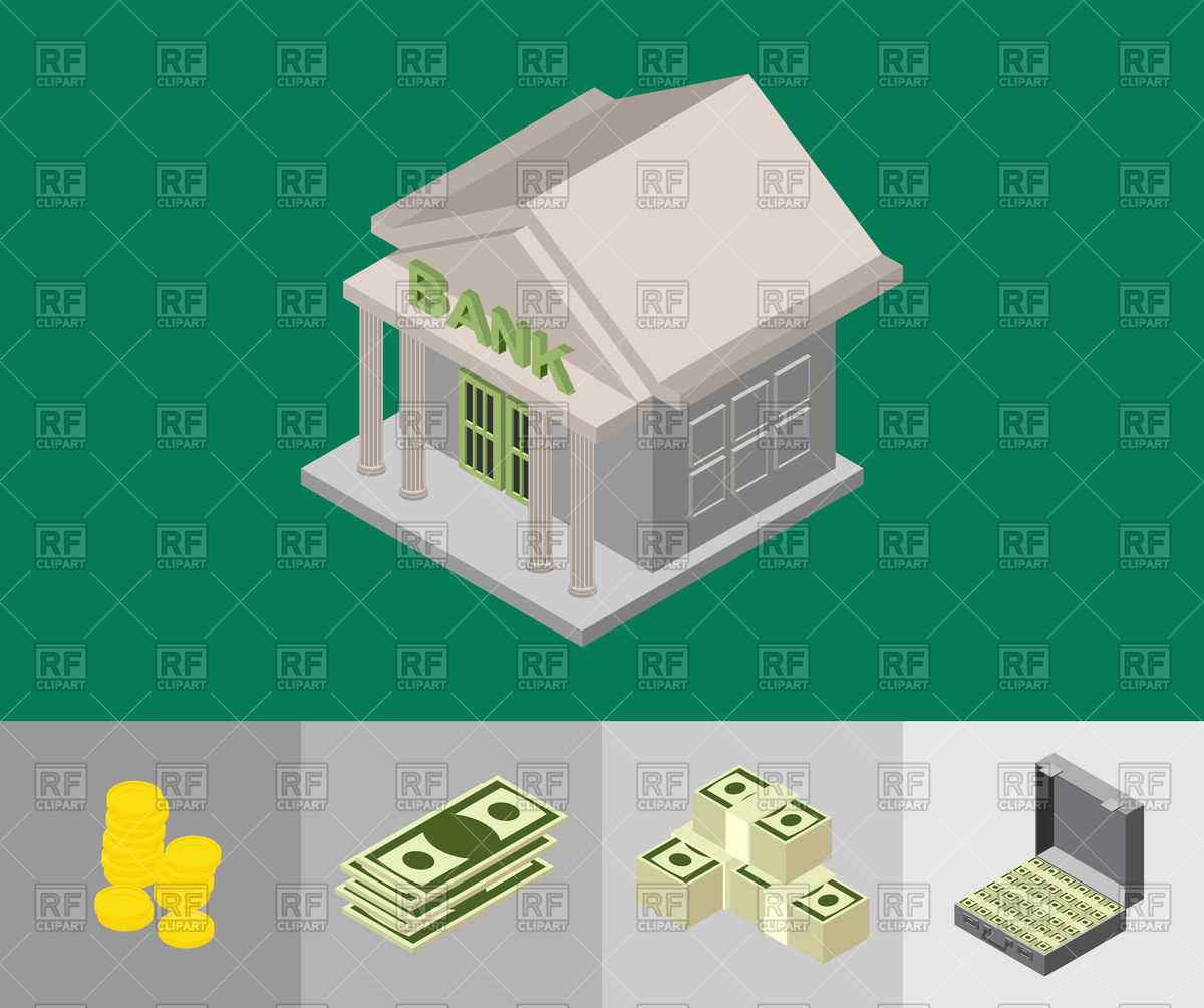 Bank building with monetary unit.