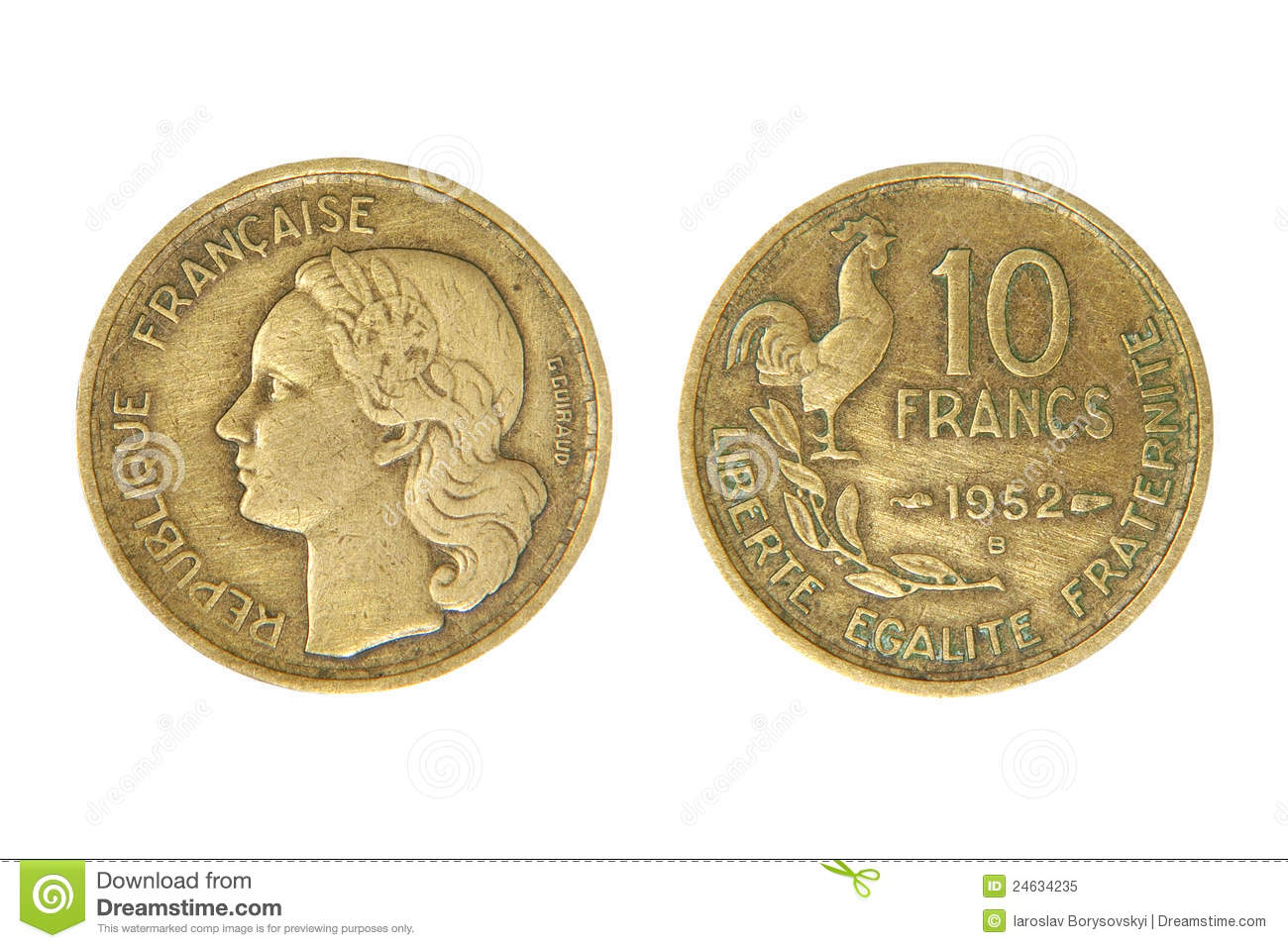 Old French Monetary Unit Franc. Royalty Free Stock Photo.