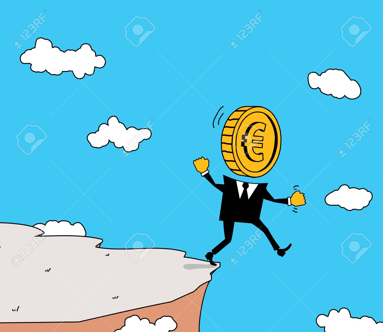 MONETARY UNIT Walks Straight Into The Abyss. Royalty Free Cliparts.