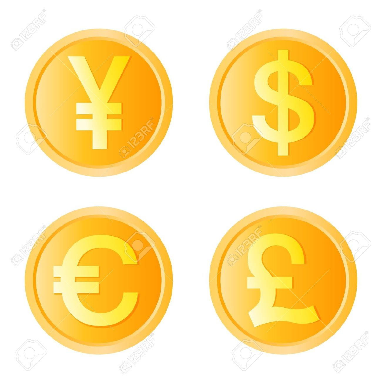 Gold Coin, Four Monetary Unit Vector Royalty Free Cliparts.