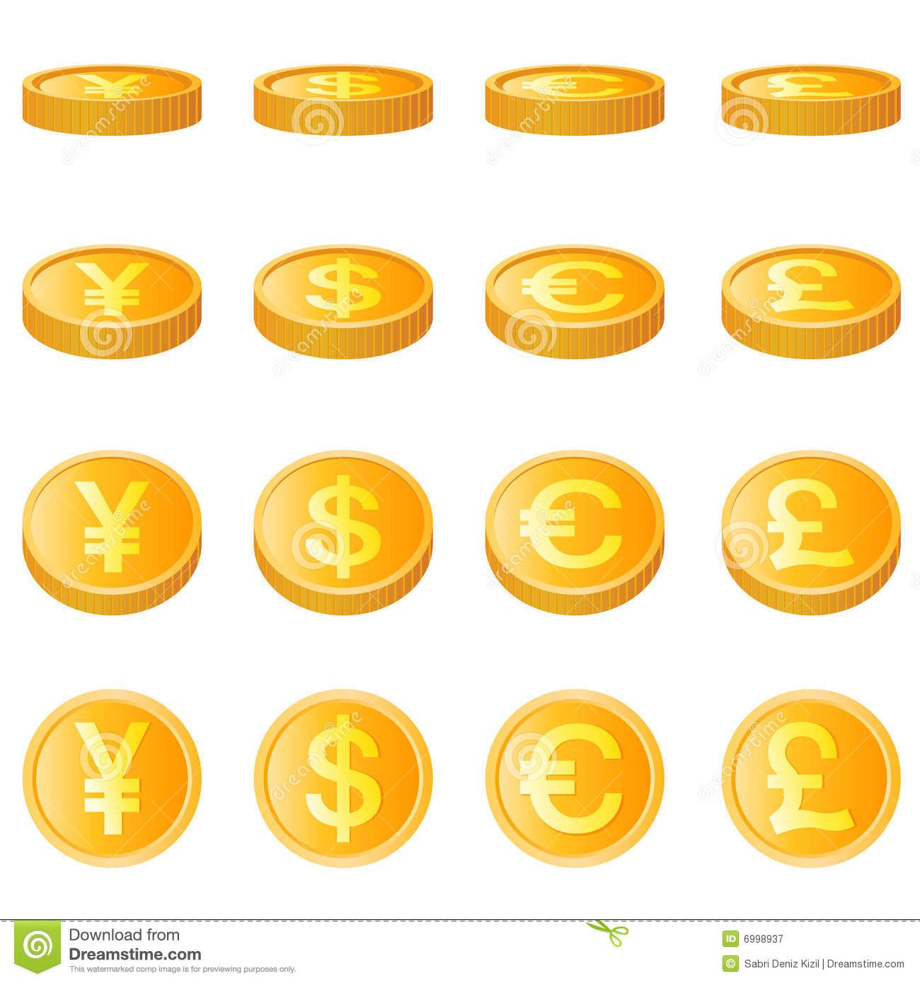 Gold Coin, Four Monetary Unit Vector Royalty Free Stock.