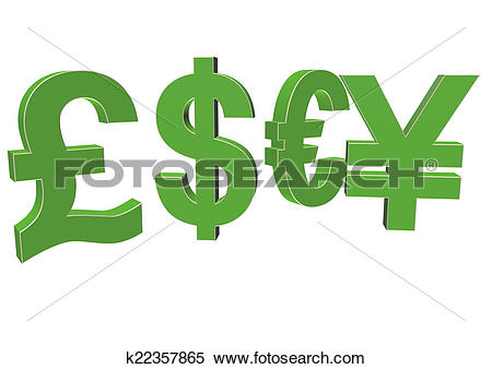 Stock Illustration of International economy currency units.