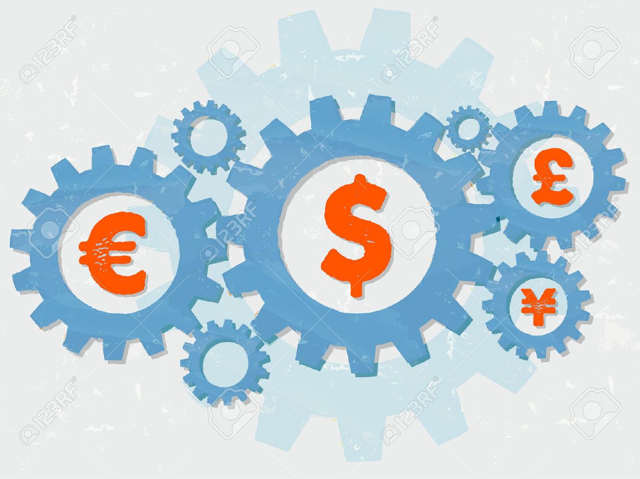 Euro, Dollar, Pound And Yen Signs.
