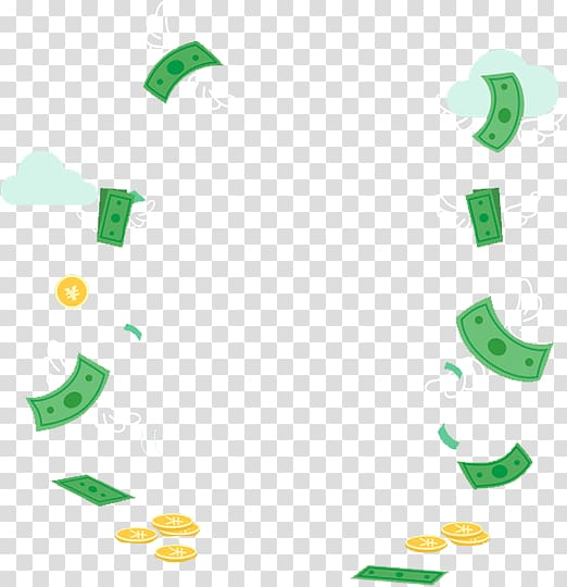 Money Animation , Coin floating material transparent.