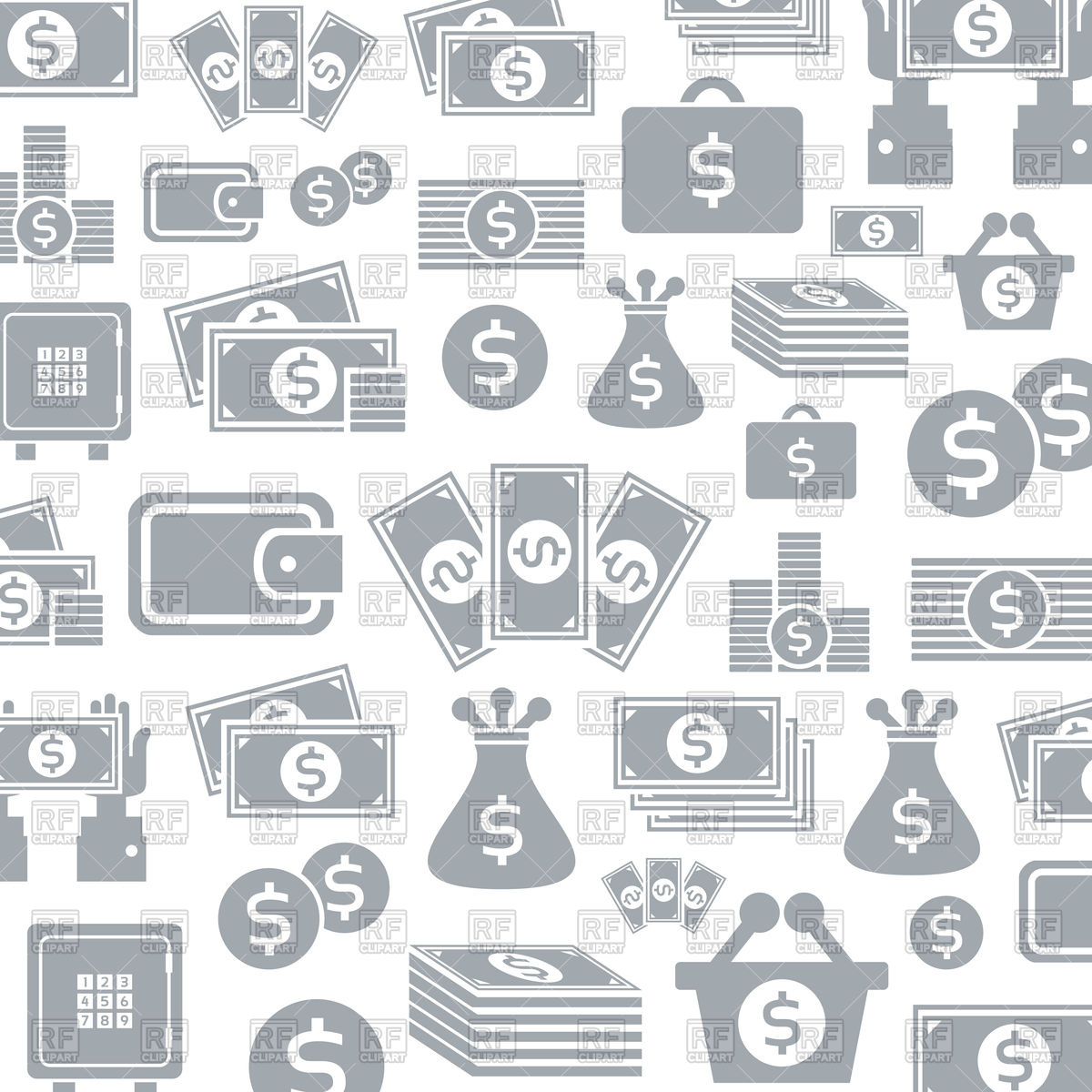 Background of money icons Stock Vector Image.