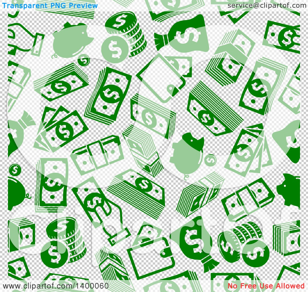 Clipart of a Seamless Background Pattern of Green Money.
